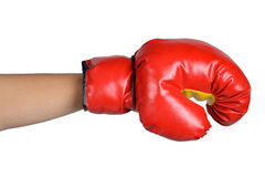 Ręka znaka postury bokserska rękawiczka odizolowywająca fotografia stock