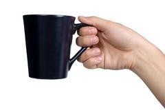Ręka znaka postury chwyta czerni szkło odizolowywający Zdjęcie Stock
