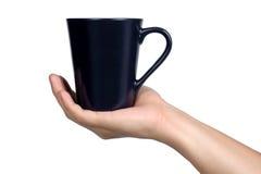 Ręka znaka postury chwyta czerni szkło odizolowywający Zdjęcie Royalty Free