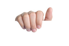 Ręka znaka postury wyboru chwyt odizolowywający Zdjęcia Stock