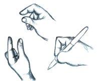 Ręka znaki i ręki Writing Z piórem Obrazy Stock