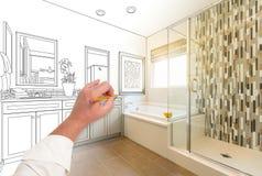 Ręka zwyczaju mistrza Rysunkowa łazienka z przekrojem poprzecznym zdjęcia stock