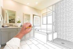 Ręka zwyczaju mistrza Rysunkowa łazienka z przekrojem poprzecznym zdjęcia royalty free