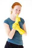 rękawiczek rudzielec kobiety kolor żółty potomstwa Zdjęcia Royalty Free