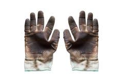 Rękawiczka z nafcianą plamą na odosobnionym tle Używać rękawiczki są brudne fotografia stock