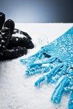 rękawiczki nad szalika śniegiem Fotografia Stock