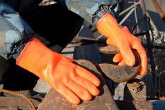 rękawiczki pomarańczowe zdjęcia royalty free