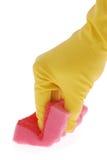 rękawiczkowa czerwona gumowa gąbka fotografia royalty free