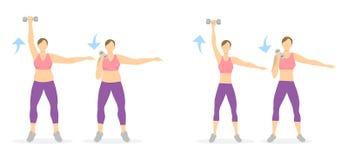 Ręki ćwiczenie dla kobiet ilustracja wektor