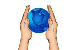 Ręki 6 i światowa kula ziemska Zdjęcia Stock