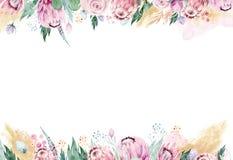 Ręki akwareli rysunek odizolowywająca kwiecista ilustracja z protea różą, opuszcza, rozgałęzia się i kwitnie, Artystyczny złoto royalty ilustracja