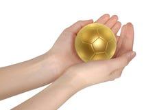 ręki balowa złota piłka nożna Zdjęcia Royalty Free