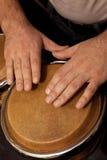 Ręki bawić się bongo mężczyzna Zdjęcie Royalty Free