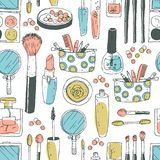 Ręki darwn wektorowy kosmetyczny bezszwowy wzór Kosmetyków narzędzia i Obrazy Royalty Free