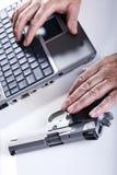 Komputerowa przestępca w akci Obraz Stock