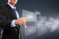 Ręki dosunięcie na dotyka ekranu interfejsie zdjęcie stock