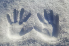 Ręki drukują na płatku śniegu Zdjęcia Stock