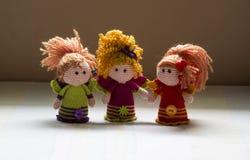Ręki dziać Szydełkowe lale trzy anioła Obraz Royalty Free