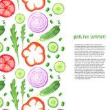 Ręki farby akwareli warzywa ustawiający Akwareli granica z arugula, ogórek, pomidor ilustracji