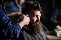 Ręki fryzjer męski z włosianym cążki, zamykają up Modnisia brodaty klient dostaje fryzurę Fryzjer męski pracy z włosianym cążki Fotografia Royalty Free