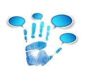 Ręki i komunikaci bąble ilustracyjni ilustracja wektor
