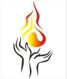 Ręki i ogień Fotografia Royalty Free