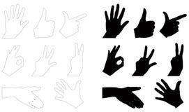 Ręki i palce ustawiają sylwetkę ilustracja wektor