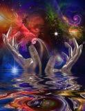 Ręki i przestrzeń ilustracja wektor