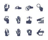 Ręki ikona ustawiająca dla strony internetowej lub zastosowania Zdjęcia Stock