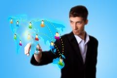 ręki ikony mężczyzna sieci naciskowy socjalny Fotografia Stock