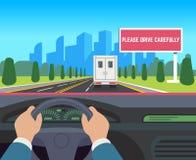 Ręki jedzie samochód Samochód wśrodku deska rozdzielcza kierowcy prędkości drogowego dogonienia ruchu drogowego podróży billboard royalty ilustracja