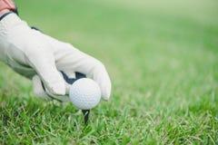 Ręki kładzenia piłka golfowa na trójniku w polu golfowym obrazy royalty free