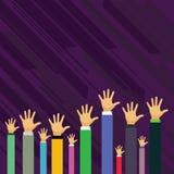 Ręki Kilka biznesmeni Podnosi W górę Kierowniczego Palmowego obszycie przodu Nad Kreatywnie tło pomysł dla wybory Głosować ilustracji