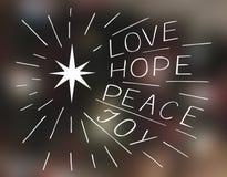 Ręki literowania miłość, nadzieja, pokój, radość z gwiazdą Obraz Stock
