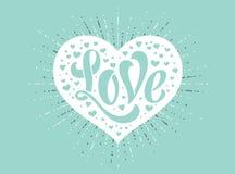 Ręki literowania miłość w białym sercu na turkusowym tle dla kartka z pozdrowieniami Handmade kaligrafia również zwrócić corel il Obrazy Royalty Free