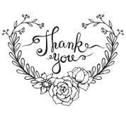 Ręki literowania słowa Dziękują was z kwiecistym wiankiem Obraz Royalty Free