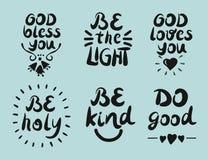 6 ręki literowania wycena bóg błogosławi ciebie Jest światłem Robi dobremu ilustracja wektor