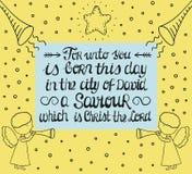 Ręki literowanie do Dla ciebie jest urodzony w mieście David wybawiciel który jest Chrystus władyka z gwiazdą i aniołami, royalty ilustracja