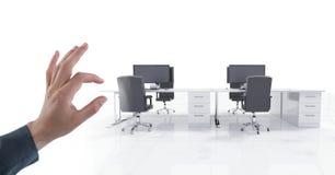 Ręki macania powietrze biuro z biurkami zdjęcia royalty free