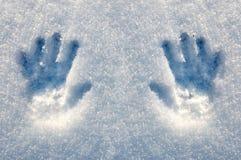 ręki matryca drukuje śnieg Obraz Royalty Free