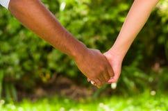 Ręki międzyrasowe pary mienia ręki, wielkiej miłości symboliczny pojęcie, zieleni ogrodowy tło Fotografia Royalty Free