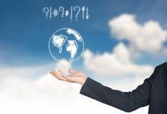ręki mienia ikony mapy świat Zdjęcia Royalty Free