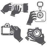Ręki mienia kamera ilustracja wektor