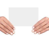 Ręki mienia karta obrazy stock