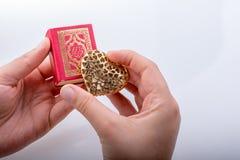 Ręki mienia Kierowy kształt i Islamski Święty koran Zdjęcie Royalty Free