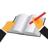 Ręki mienia książka i ołówek, wektorowa ilustracja w płaskim projekcie dla stron internetowych Obraz Royalty Free