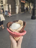 Ręki mienia lody przy ulicą Zdjęcia Stock