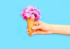 Ręki mienia lody rożek z kwiatami nad błękitem Zdjęcia Royalty Free