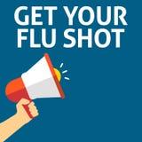 Ręki mienia megafon Z DOSTAJE TWÓJ szczepionka przeciw grypie zawiadomienie ilustracja wektor