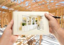 Ręki mienia pióro i ochraniacz papier z Obmurowanymi półkami Obrazy Stock